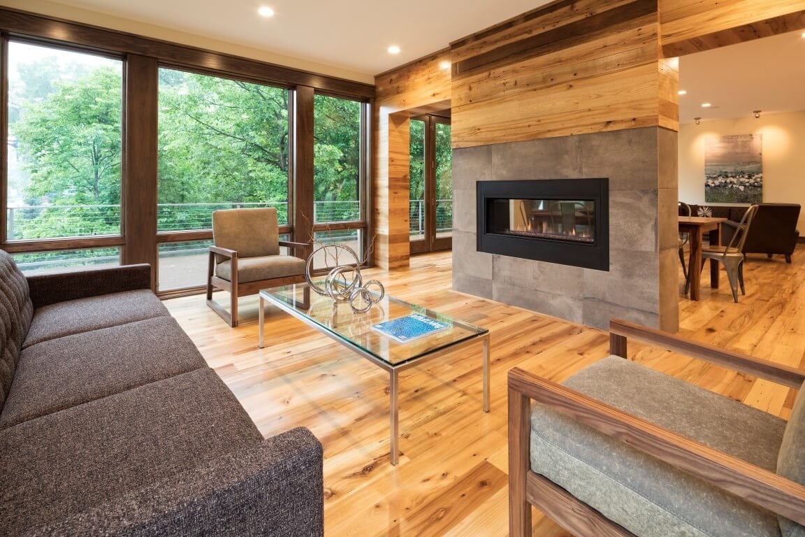 living room in modern home in edina built by sustainable9