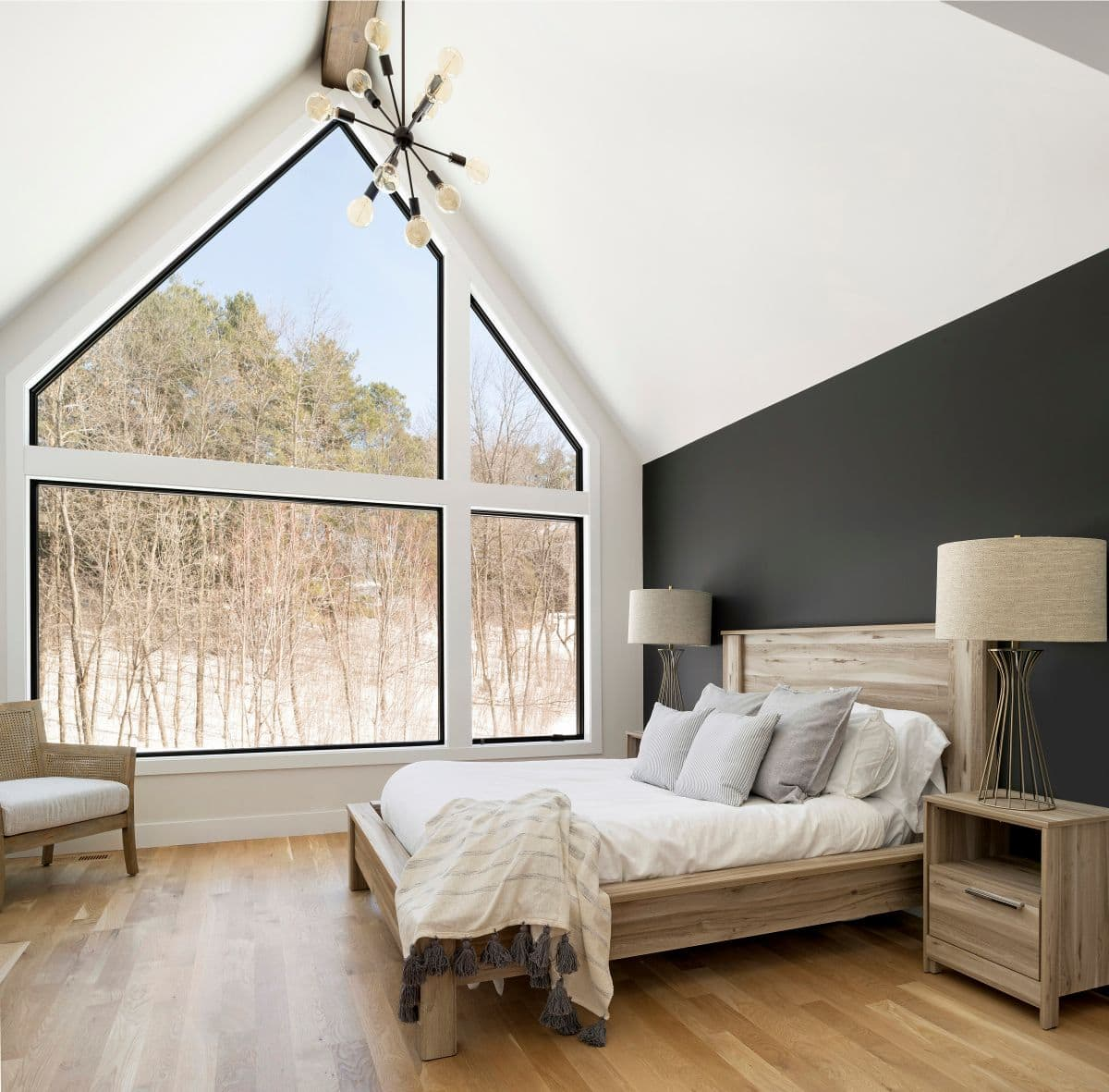 master bedroom in Scandinavian modern home in minnesota