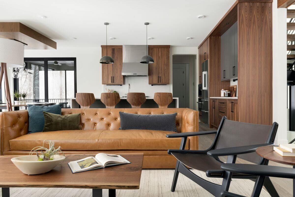 living room in modern lodge style home built in Minnesota