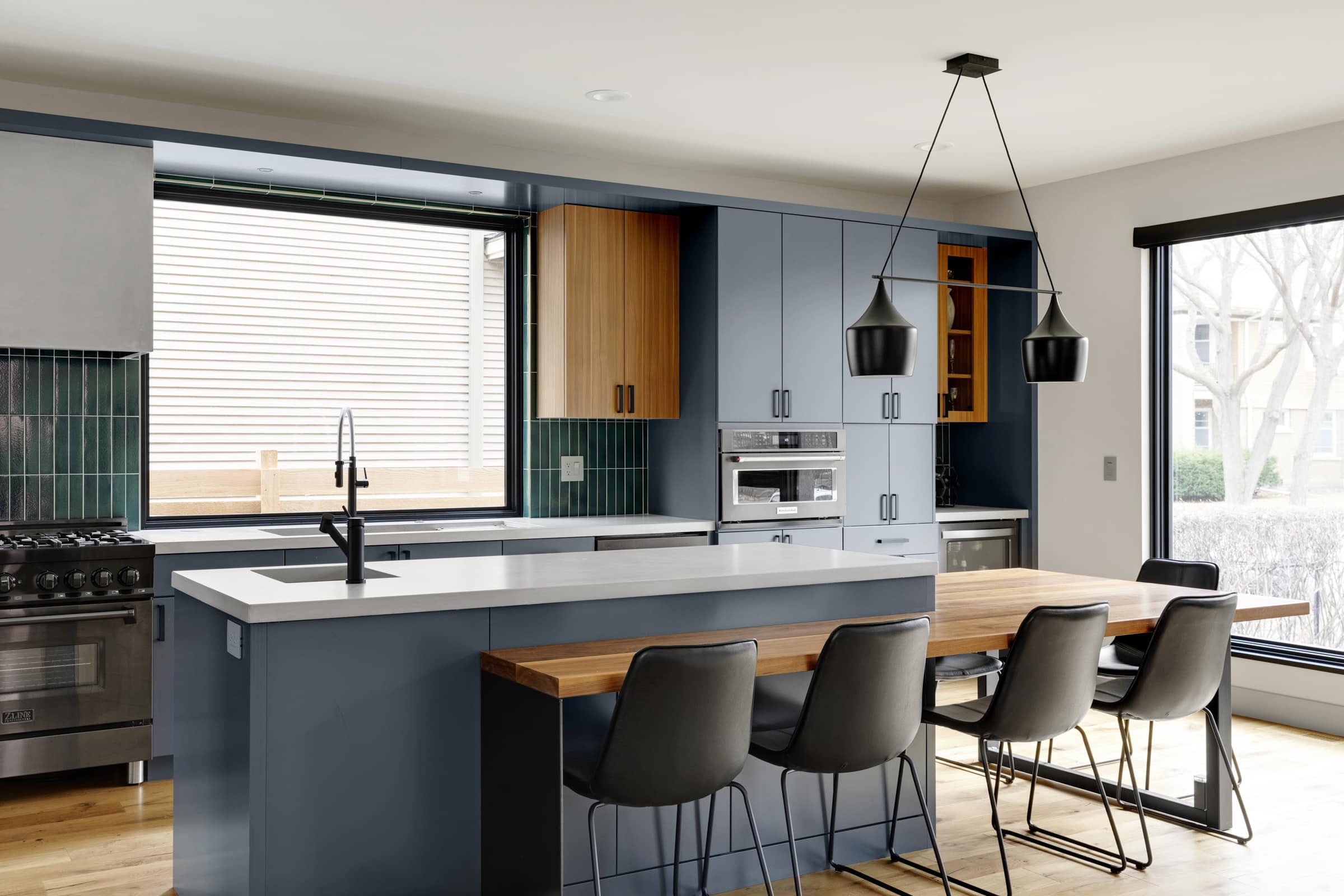 Kitchen, barstools and beautiful modern home